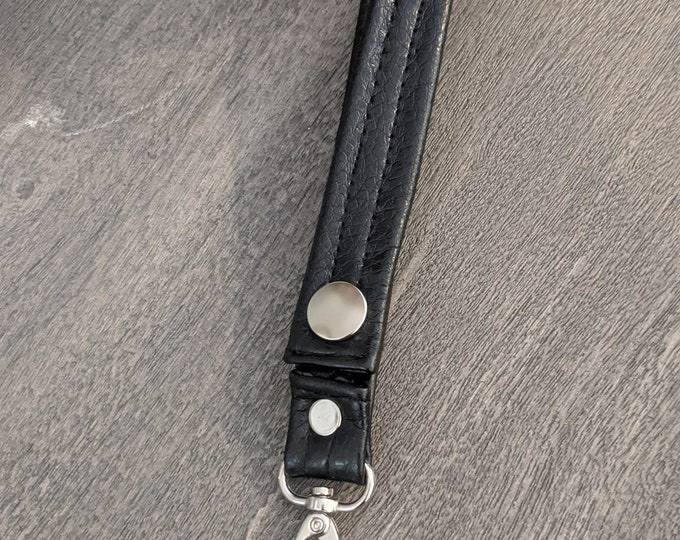 Black Faux Leather Key Chain - Two Stitch Lines - Travel Accessory - Gift for Graduate - Handmade Accessory