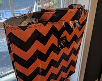 Car Caddy - Orange and Black Chevron - Car Organizer -  Gift Idea for Women - Travel Gift - Handmade Accessory - Birthday Present