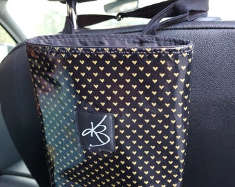 Small Car Caddy, Black and Gold Heart Print Laminated Cotton Fabric, Car Organizer, Travel Car Accessories for Women