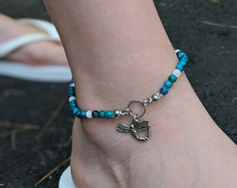 """Blue Green Beaded Anklet with Dragonfly Charm - Stretch Anklet - 10"""" Diameter - Women's Jewelry"""