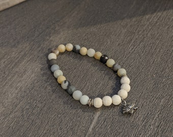 White Lava Stone and Jasper Beaded Stretch Bracelet - Gift for Her - Fashion Accessory for Women