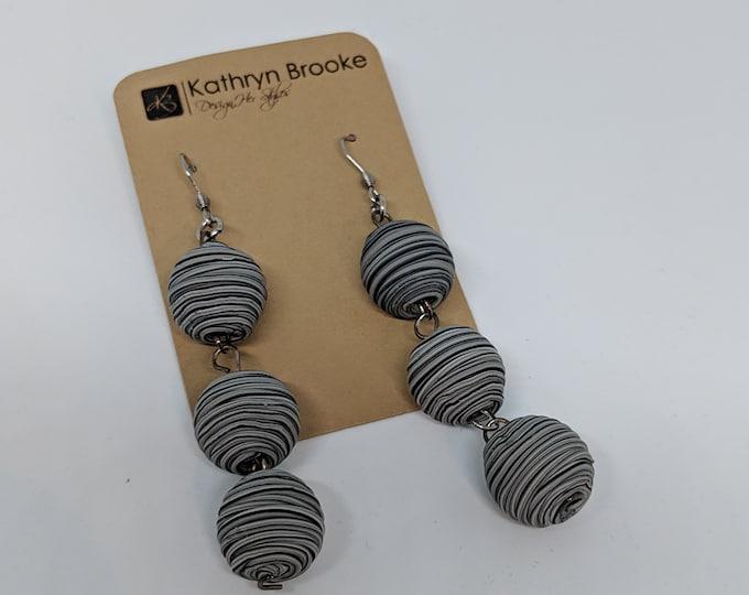 Triple Textured Ball Dangle Earrings - Large Fashion Earrings for Women - Girls Night Out Gift