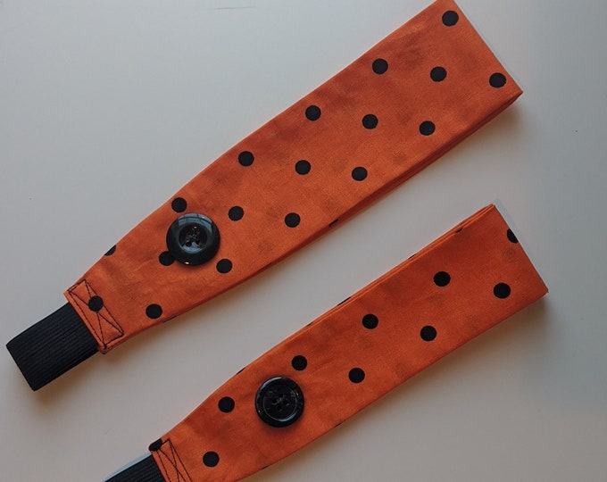 Child Size Headband with Buttons -Orange with Black Polka Dot Print Fabric- Headband for Mask -Ear Saver - Washable - Handmade Accessories