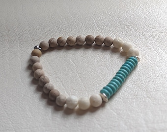 Turquoise Bead, White Lava Stone and Brown Wood Beaded Bracelet - Stretch Fashion Bracelet - Gift for Her - Birthday Present