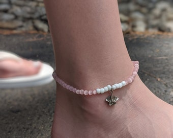 Brooke's Design Anklet - Light Pink and White Beaded Anklet with Lotus Flower Charm - Stretch Anklet - Gift for Her - Gift For Yogi