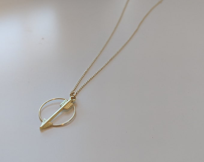 """Gold Arrow and Circle Charm Necklace - 16""""-18"""" Adjustable Necklace - Gift for Her - Birthday Present- Jewelry Gifts"""