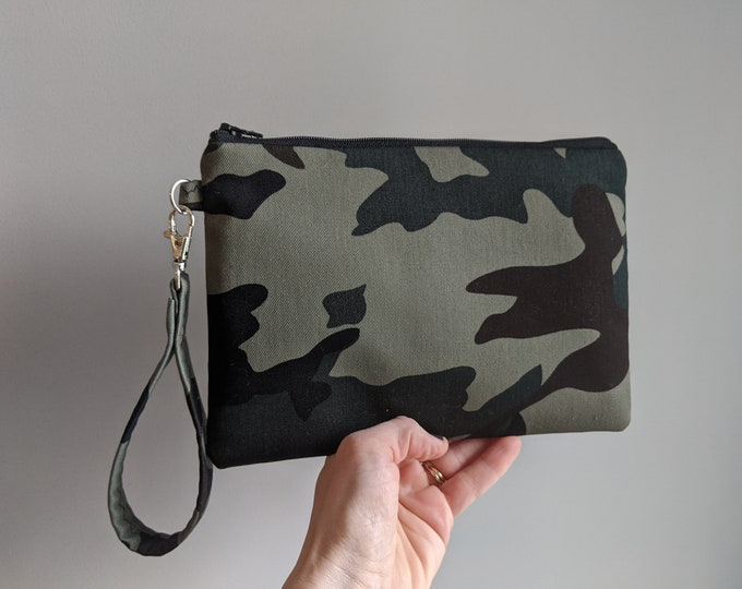 Jessica's Fatigue Print Fabric Wristlet - Wristlet Wallet - Women's Accessories - Boutique Gifts - Gift for Her