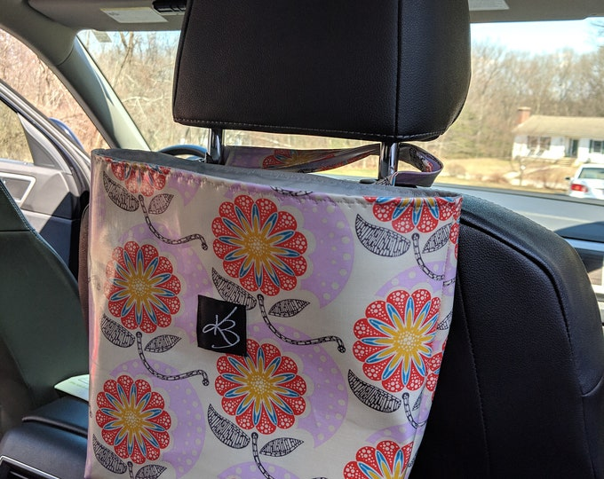 Car Caddy with Pink Laminated Cotton Fabric - Car Organizer - Bag for Travel in the Car - Bag for Organizing Kids' Toys - Bag for Car