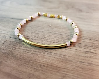 Pink and Gold Beaded Stretch Bracelet with Gold Arched Piece