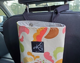 Small Car Caddy, Pink and Green and Orange Floral Laminated Cotton Fabric, Car Organizer, Travel Car Accessories for Women