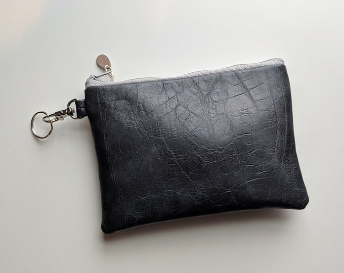 Faux Leather Key Chain Case - Gift Accessory for Women on the Go - Versatile Gift for Busy Mom - Handmade Accessory for Women - Dark Gray
