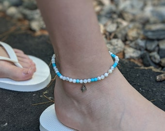 Howlite and Turquoise Beaded Stretch Anklet with Tiny Turtle Charm - Women's Accessories - Gift for Her
