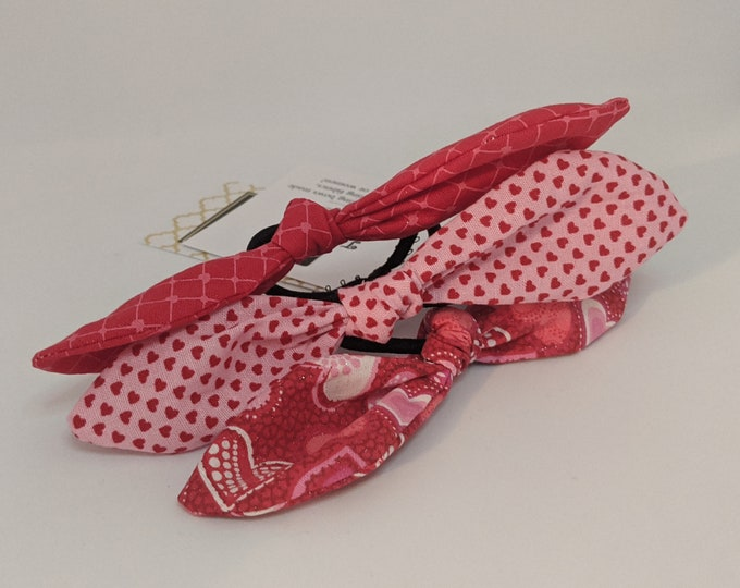 Valentine's Day Hair Tie Trio - Hair Accessories for Girls - Red and Pink Fabric - Valentine's Day Gifts