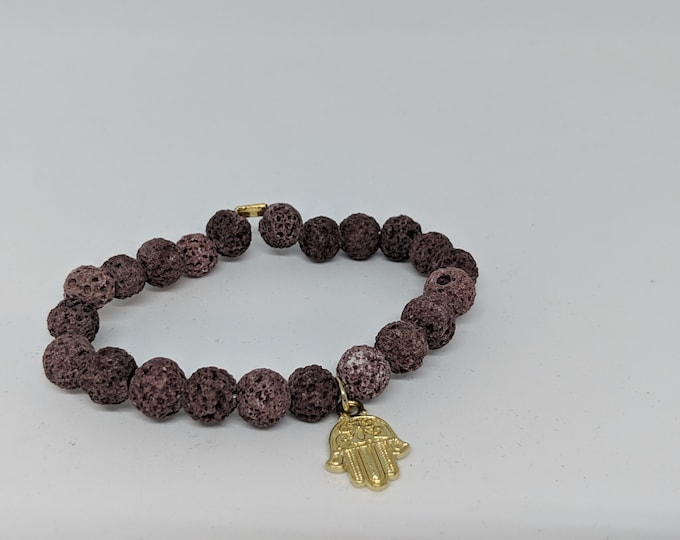 Lava Stone Stretch Bracelet with Hamsa Charm - Great Gift for Women - Grounding Lava Stones - Hamsa Hand Charm - Gift for Her- Jewelry Gifts