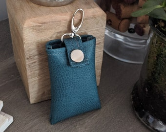 Key Chain Card Case - Key Chain Accessory - Credit Card Case - Handmade Accessory - Blue/Green Faux Leather