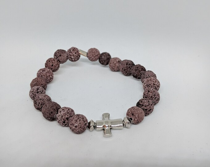 Lava Stone Stretch Bracelet with Cross Bead - Great Gift for Women - Grounding Lava Stones - Semi Precious Stones