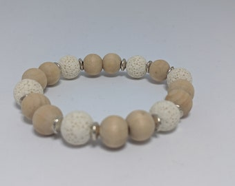 White Lava Stone and Wood Beaded Stretch Bracelet - Gift for Her - Fashion Accessory for Women - Zen Jewelry - Grounding Stone