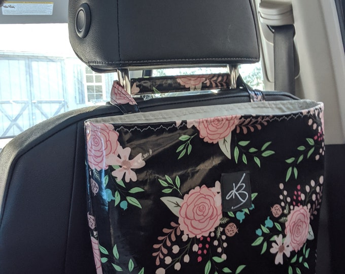 Car Caddy - Pink and Black Floral -Car Organizer -  Gift Idea for Women - Travel Gift - Handmade Accessory - Birthday Present