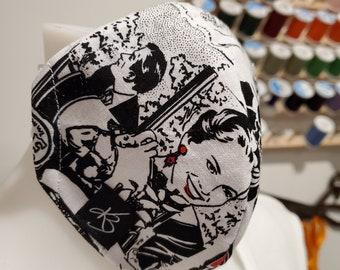 Small/Medium Reusable Face Mask , Newspaper Print Cotton Fabric (3),  Washable Fabric, Children and Adult Masks