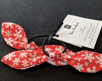 Pair of Hair Ties - Multi Color Retro Bow Hair Ties - Red and White Christmas Print Fabric - Gift for Her - Best Friend Gifts