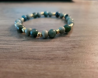 Green and Gold Beaded Stretch Bracelet