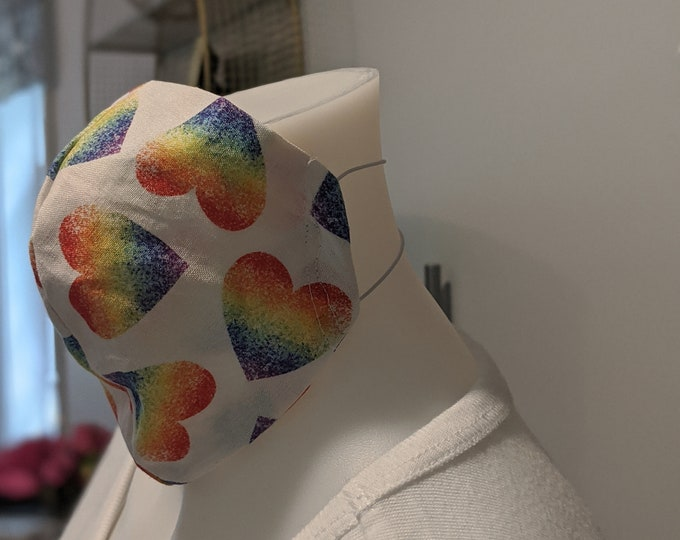 Small/Medium Reusable Face Mask  - Rainbow Heart Cotton Fabric- Washable Fabric - Children and Adult Masks