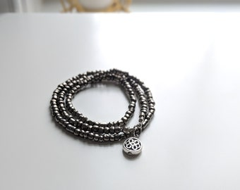 Triple Wrap Stretch Bracelet/Necklace with Ornate Silver Bead - Unique Handmade Gift for Her - Stylish Jewelry for Women on the Go