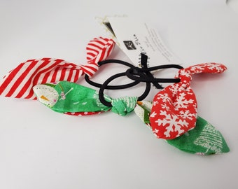 Bows, Hair Tie Trio, Christmas Theme Fabric Hair Ties, Hair Accessories for Girls and Women, Party Favors