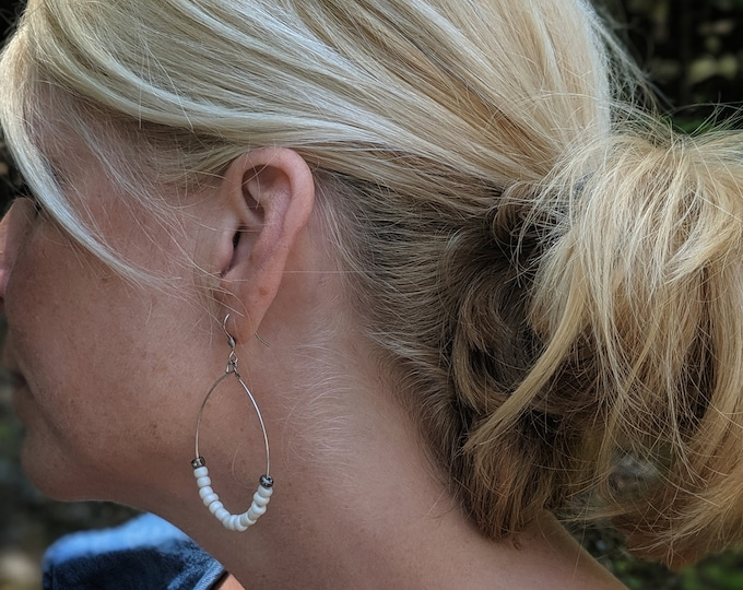 White Bead Silver Hoop Earrings - Dangle Earrings - Gift for Women - Birthday Gift - Fashion Accessories - White and Silver #valentinesday