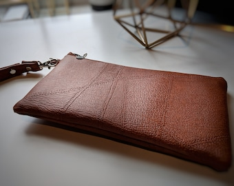 Brown Tan Faux Leather Wristlet - Textured Faux Leather - Handbag - Gift for Women - Birthday Gift - Handmade