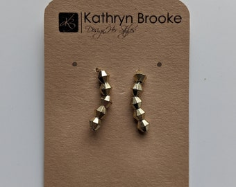 Ear Climbers for your Ears - Earrings with Five Gold Beads - Gift for Women - Birthday Gift for Girls- Valentines Day Gift