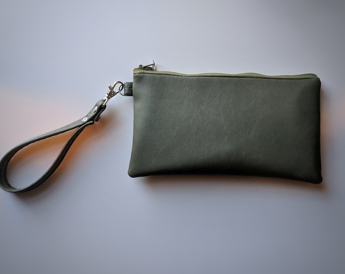 Green Faux Leather Wristlet - Olive Green - Gift Idea - Gift for Women - Birthday Gift