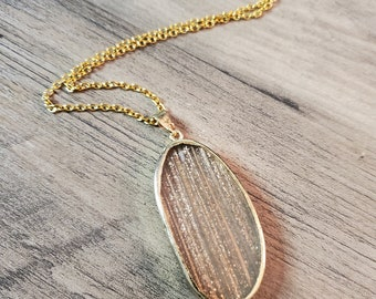 Clear with Gold Sparkle Pendant Necklace