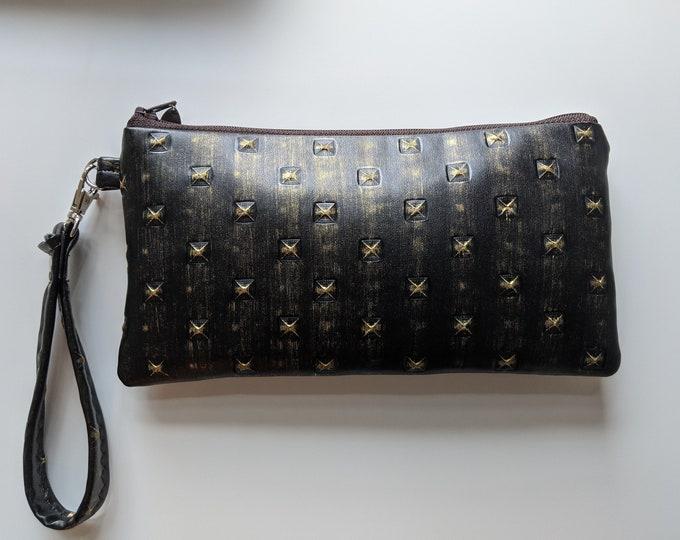 Dark Brown and Gold Textured Vinyl Fabric Wristlet - Birthday Present - Handmade Accessories - Wristlet Wallet