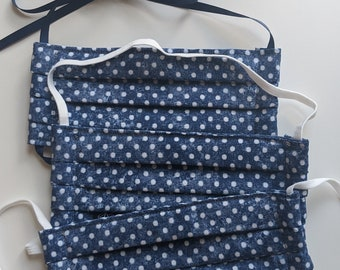 Size Large - Reusable Cotton Face Mask -Blue and White Polka Dot Cotton - Three Layer Mask -Polypropylene Fabric - Made in the USA