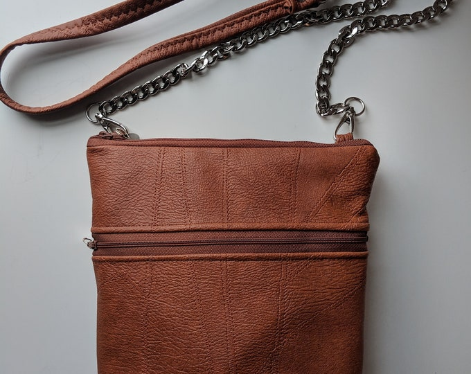 Crossbody Bag with Brown Textured Faux Leather- Crossbody Bag with Lots of Pockets - Birthday Present - Gift for the Busy Woman