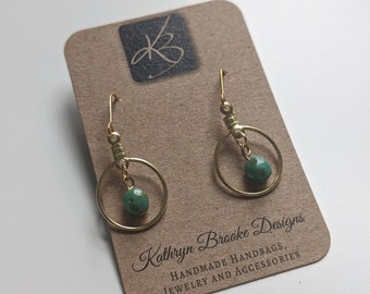 Gold Circle Earrings with Single Green Bead - Beautiful and Simple-  Fashionista Earrings - Birthday Present - Gift for Her
