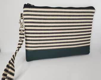 Vegan Leather and Cotton Wristlet for Women, Black and White Striped Cotton with Hunter Green Faux Leather, Handmade Handbag Shop