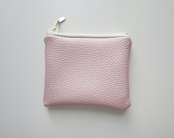 Vegan Leather Small Pouch , Pink Faux Leather Fabric, Vegan Leather Handmade Bag, Change Purse