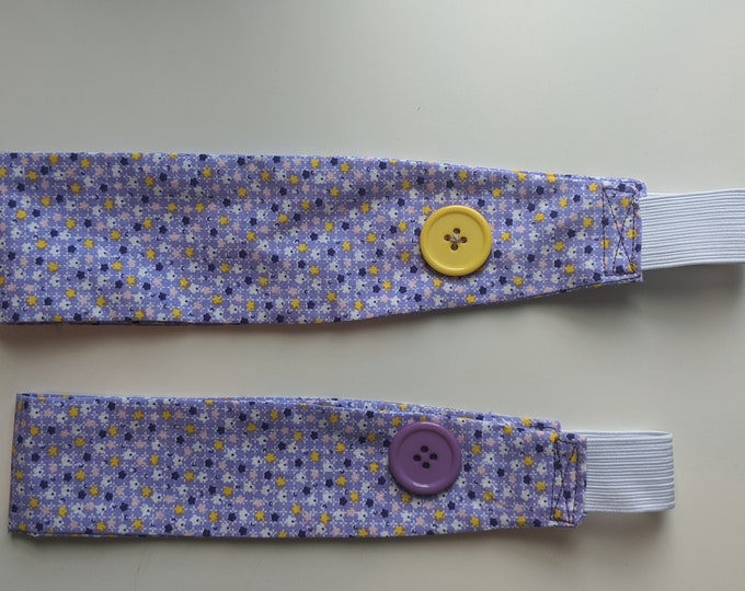 Child Size Headband with Buttons - Wisteria Purple Fabric- Headband for Mask -Ear Saver - Washable - Handmade Accessories