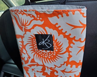 Small Car Caddy, Orange and White Floral Print Laminated Cotton Fabric, Car Organizer, Travel Car Accessories for Women, Child's Bag
