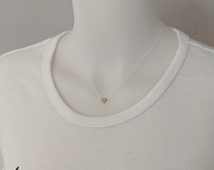 White Silk Cord Necklace with Tiny Gold Heart Bead - Birthday Present for Women - Simple Jewelry - Handmade Accessories for Girls