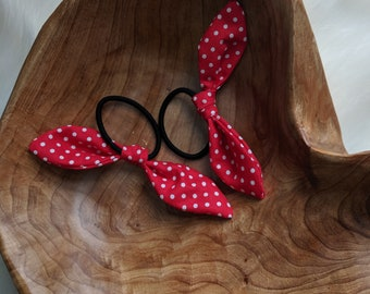 Pair of Hair Ties - Multi Color Retro Bow Hair Ties - Red and White Fabric - Gift for Her - Best Friend Gifts