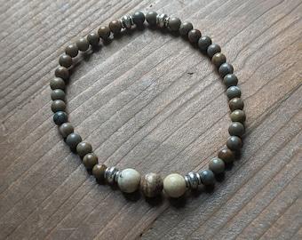 Jasper Bead Stretch Bracelet - Women's Accessories - Birthday Present - Handmade Fashion Bracelet Jewelry