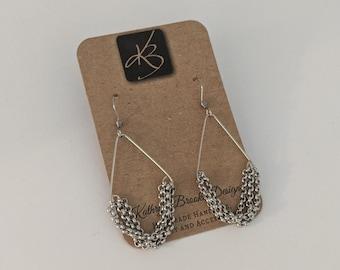 Chandelier Earrings - Ornate Earrings - Gift Idea - Silver Chain - Fashionista Earrings - Birthday Present