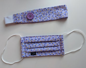 Child Size Set of Purple Floral Print Headband w/Buttons and Mask - Reusable Face Mask - PPE - Handmade Masks