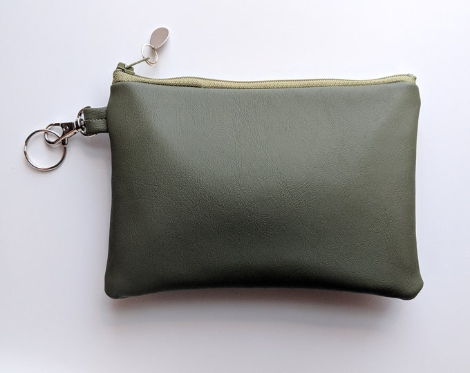 Faux Leather Key Chain Case - Gift Accessory for Women on the Go - Versatile Gift for Busy Mom - Handmade Accessory for Women - Olive Green