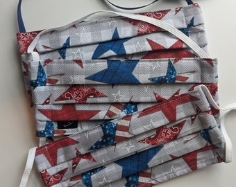Size Small - Reusable Cotton Face Mask - Stars and Stripes Print Cotton - Three Layer Mask -Polypropylene - Made in the USA - Washable Mask