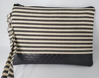 Vegan Leather and Cotton Wristlet for Women, Black and White Cotton with Textured Black Faux Leather, Handmade Handbag Shop