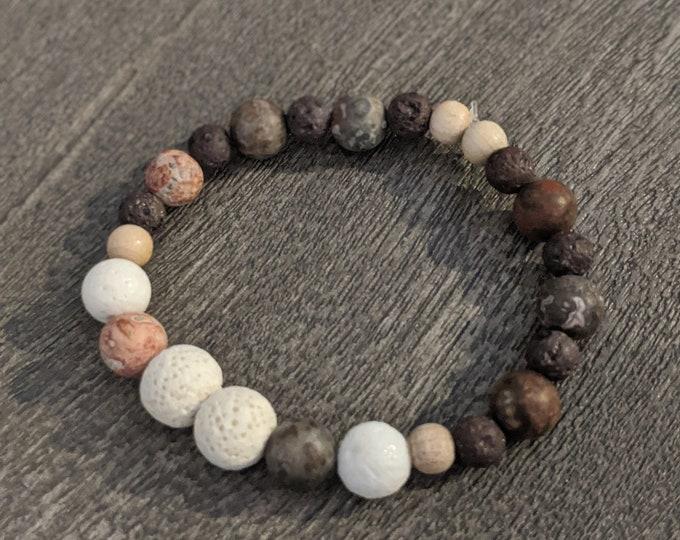 Lava Stone Stretch Bracelet with Jasper Beads - Zen Jewelry - Grounding Lava Stone Beads - Birthday Present - Gift for Her